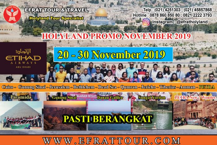 HOLYLAND TOUR INDONESIA 20-30 November 2019 (11 Hari) Mesir - Israel - Jordan + PETRA  by ETIHAD AIRWAYS 1 holyland_tour_november_2019